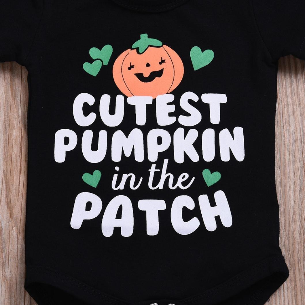 530921b6 Amazon.com: Hatoys Cute Newborn Toddler Baby Boys Girls Halloween Costume, Letter  Print Pumpkin Jumpsuit Rompers: Clothing