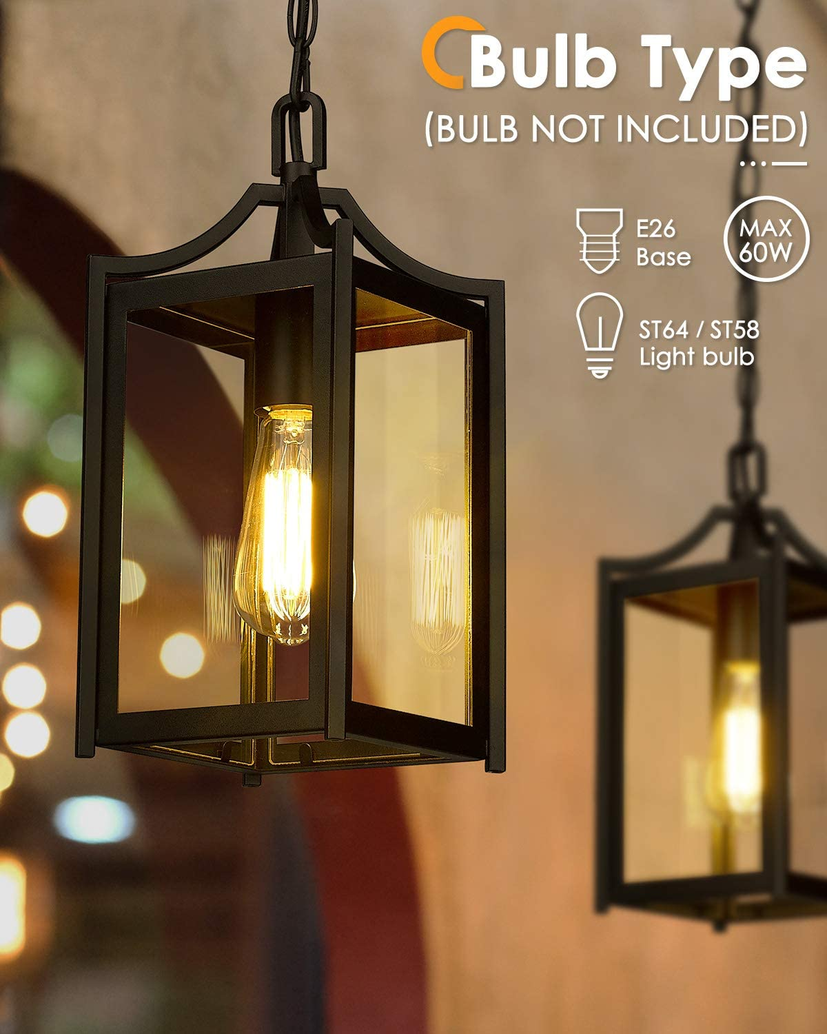 Exterior Outdoor Hanging Light in Black Finish and Clear Glass 2439//1H Osimir Outdoor Pendant Light 14 Large Modern Outdoor Chandelier with Adjustable Chain