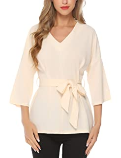 36e991aa3e Milumia Women's V Neckline Self Tie Short Sleeve Blouse Tunic Tops ...