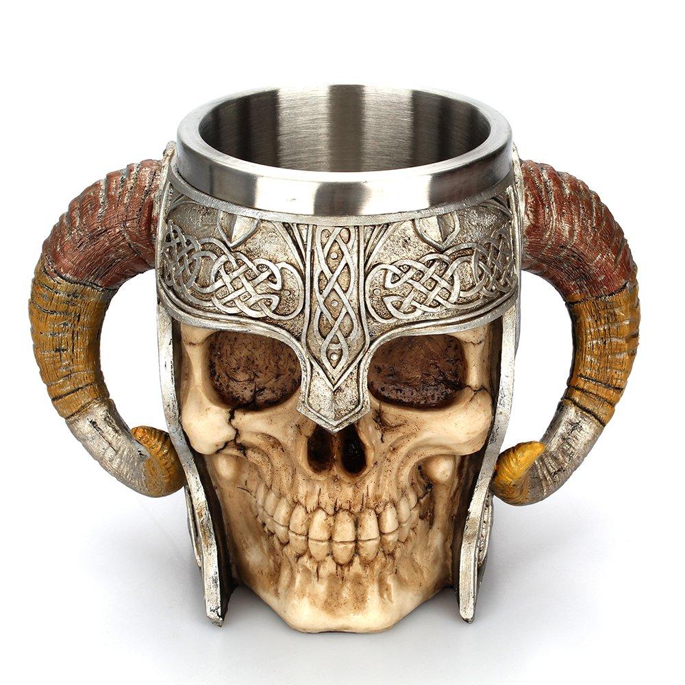 Arola Stainless Steel Double Handle Horn Skull Beer Cup, Viking Warrior Skull Mug Tankard, Medieval Skull Drinkware Mug for Coffee/Beverage/Juice 17oz.