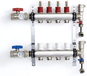 "PEX Manifold Radiant Floor Heating Set 4 Loop System Stainless Steel Heated Hydronic Heating 1/2"" Oxygen Barrier Tubing"