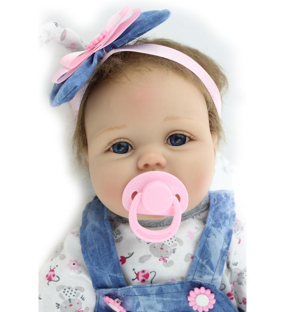 NPK Reborn Babypuppen Soft Silikon Vinyl 22 inch 55 cm Magnetic Schnuller Lebensechte Newborn Babypuppe Reborn Baby Dolls