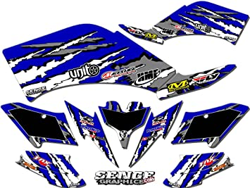 Senge Graphics Kit compatible with Yamaha 2009-2013 YFZ 450 Steel Frame 13 Fly Racing Black Graphics Kit with blank number plates