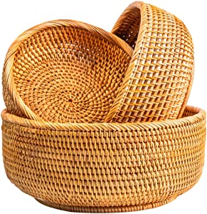 NATURAL NEO Fruit Baskets For Bowl Food Storage In Kitchen Room Small To Large Vintage Decorative Rattan Wicker Basket Serving Snack Bread Key Holder Kit 3