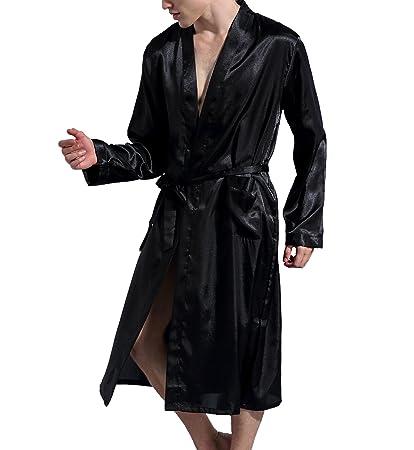 2723fdede Surenow Albornoz Pijama Camisón Robe Bata Ropa de Dormir para Hombre Satín