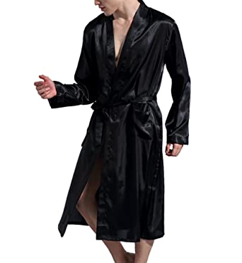 80df461f41 Surenow Men Night Satin Robe Pyjamas Room Bathrobe Robes Long Satin  Lightweight Sleepwear Gown