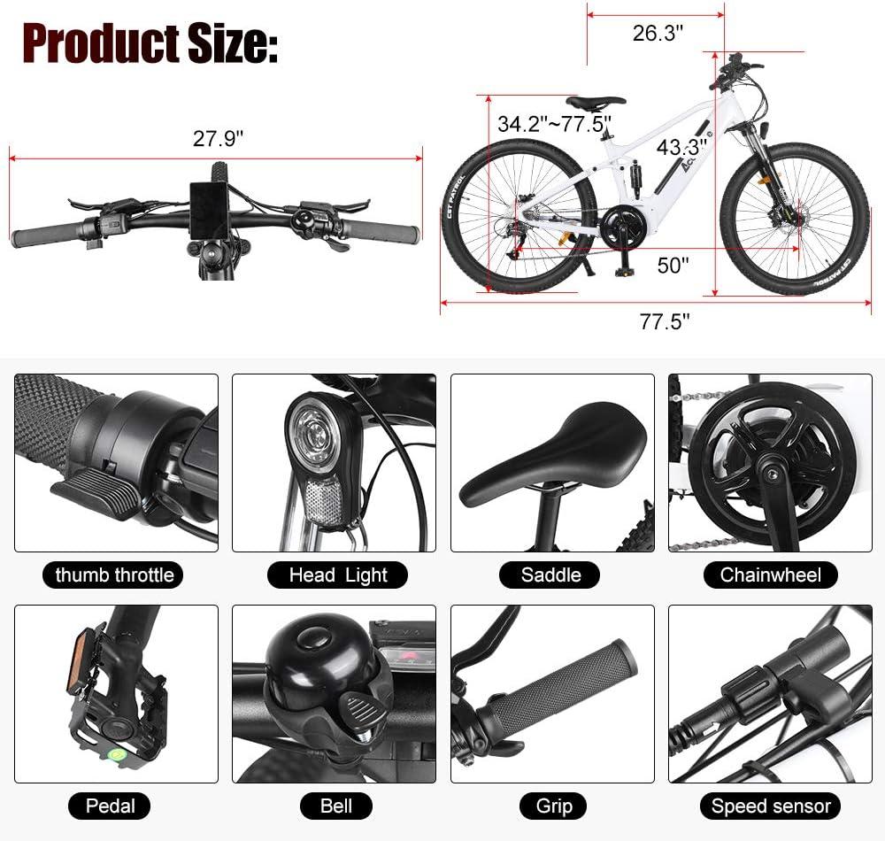 Accolmile Bicicleta de montaña eléctrica de 27,5 Pulgadas, Motor Central eléctrico BAFANG 48V 750W, con batería de Litio actualizado de 17,5 Ah, ...