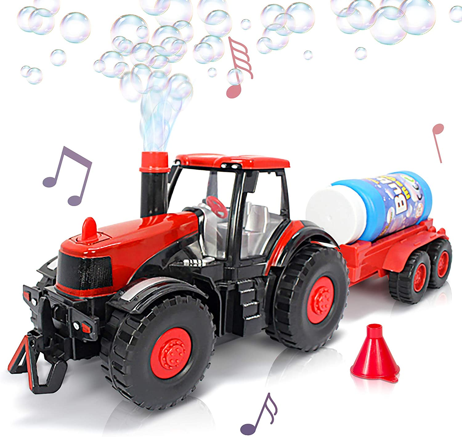 ArtCreativity Bubble Blowing Farm Tractor with Lights and Sound - Main Tractor, Funnel, and Bubble Solution Bottle Included - Battery-Operated Farm Tractor - Batteries not Included - Best for Ages 3+