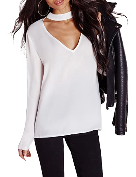 90a71539150ee HAOYIHUI Women s V Neck Long Sleeve Choker Keyhole Back T-Shirt Top at  Amazon Women s Clothing store