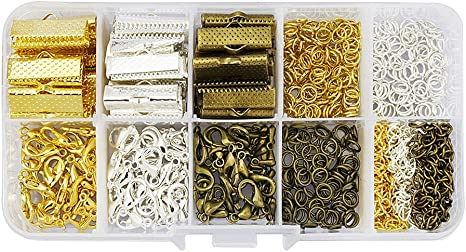 Coil /& Fold Over Cord Ends, Lobster Clasps, Jump Rings, Extender Chains Crimp Pinch Clasp Finding Box Kit for Bookmark Mandala Crafts Fold Over Cord End Ribbon Clamp with Loop Jewelry Making