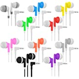 Bulk Wholesale Lot Kids Earbuds Headphones Earphones for Schools, Libraries, Hospitals, Gifts Individually Bagged (10 Pack, M