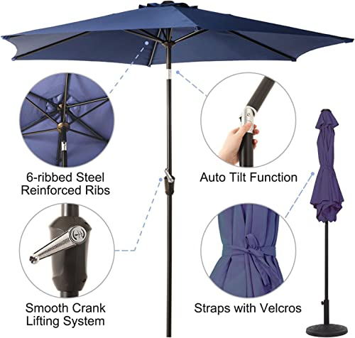 Grand patio 9 FT Aluminum Patio Umbrella, UV Protected Outdoor Umbrella with Push Button Tilt and Crank, Blue