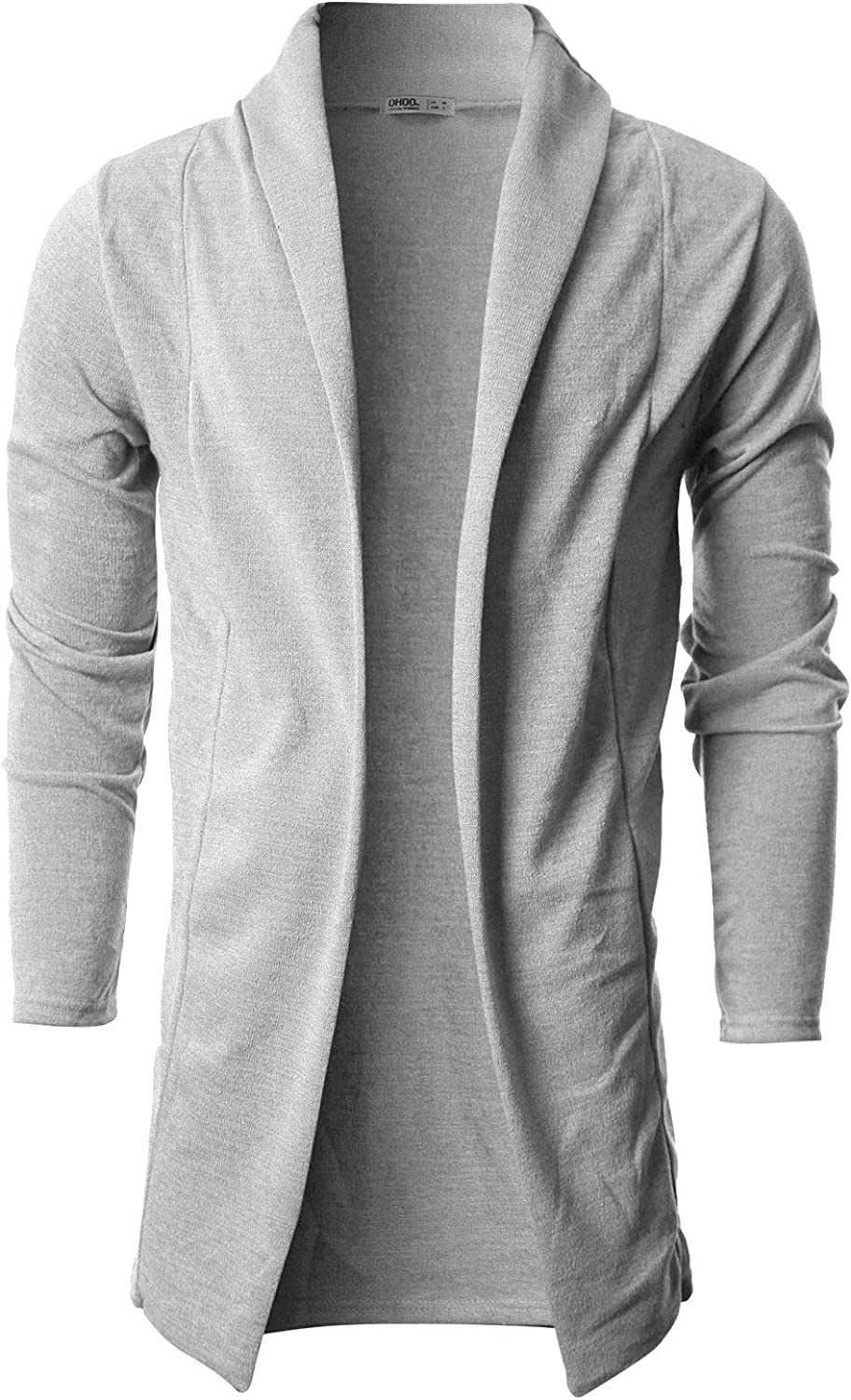 OHOO Mens Long Sleeve Draped Lightweight Open Front Shawl Collar Longline Cardigan