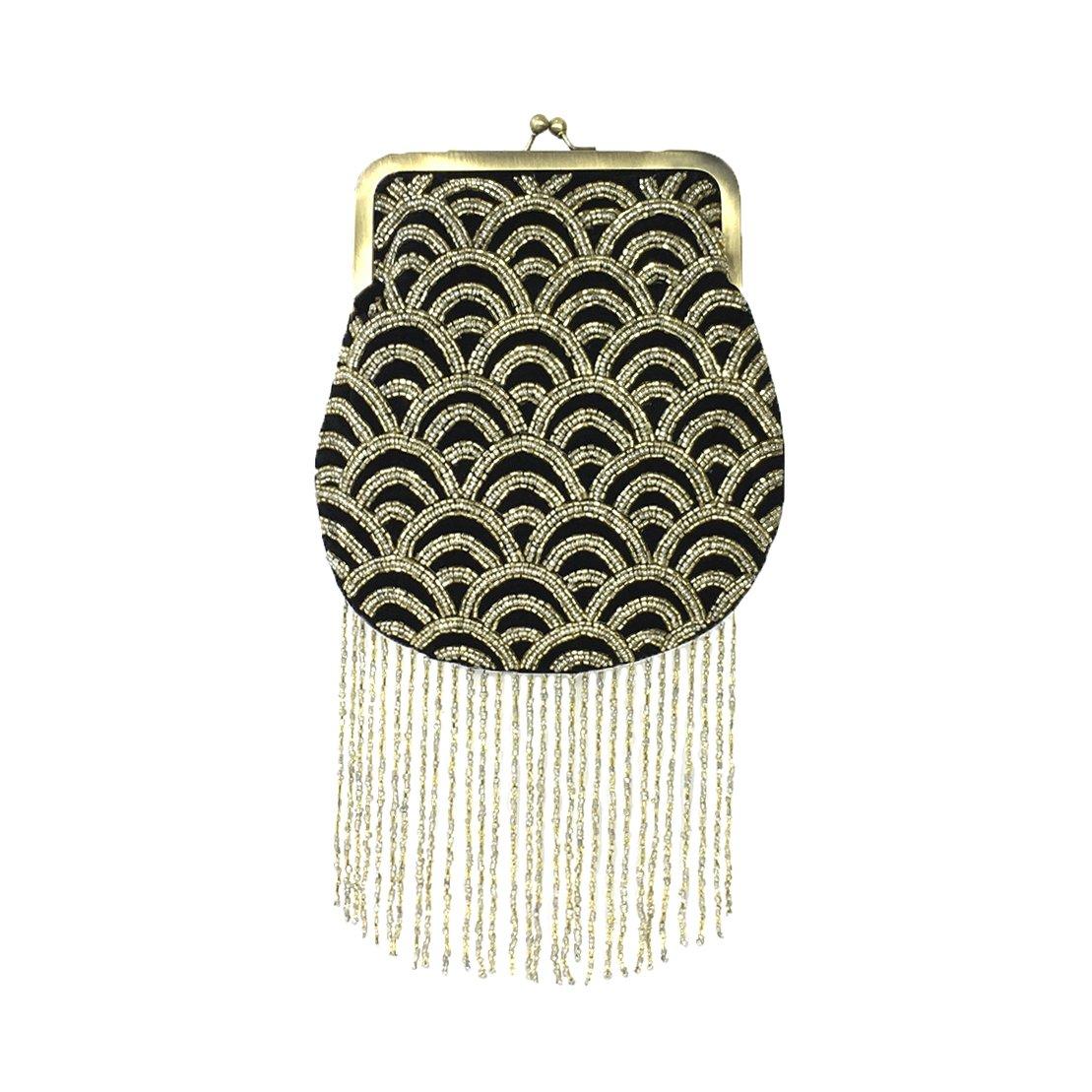 From St Xavier Sienna Kiss Lock Clutch Evening Bag, Black/Gold