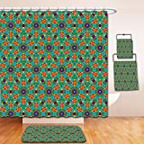 Nalahome Bath Suit: Showercurtain Bathrug Bathtowel Handtowel Orange Decor India Ethnic Design Lovers Floral Print Fern Green Marigold and Navy Blue