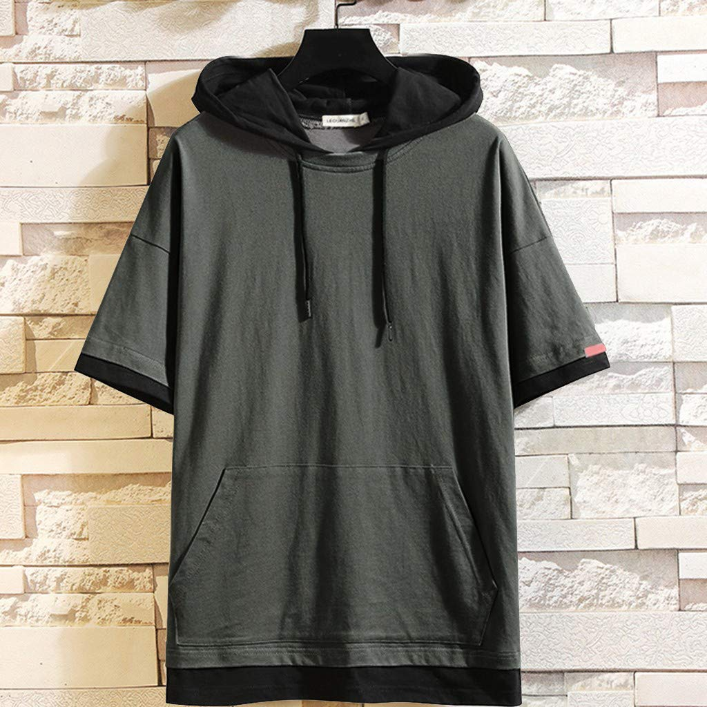 Mens Summer Two Short-Sleeved Blouse with Caps Fashion Comfort Top