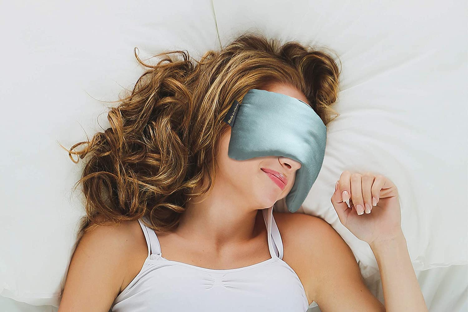 YnM Premium Weighted Sleep Mask with 100% Bamboo Viscose & Premium Glass Beads, Blackout Sleeping Mask, Sea Grass