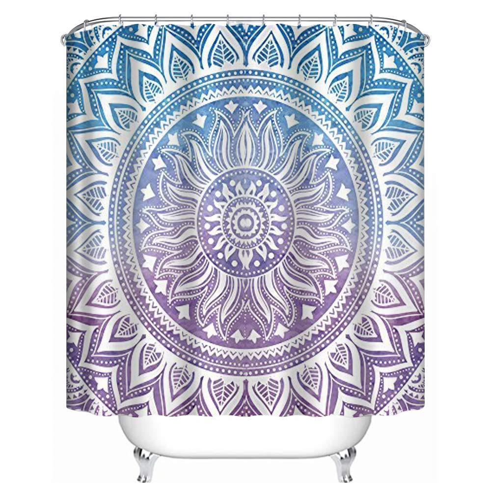 "Uphome Fashion Waterproof Medallion Pattern Custom Bathroom Shower Curtain Polyester Fabric Bathroom Curtain Ideas (72"" W x 78"" H, Blue and Purple)"