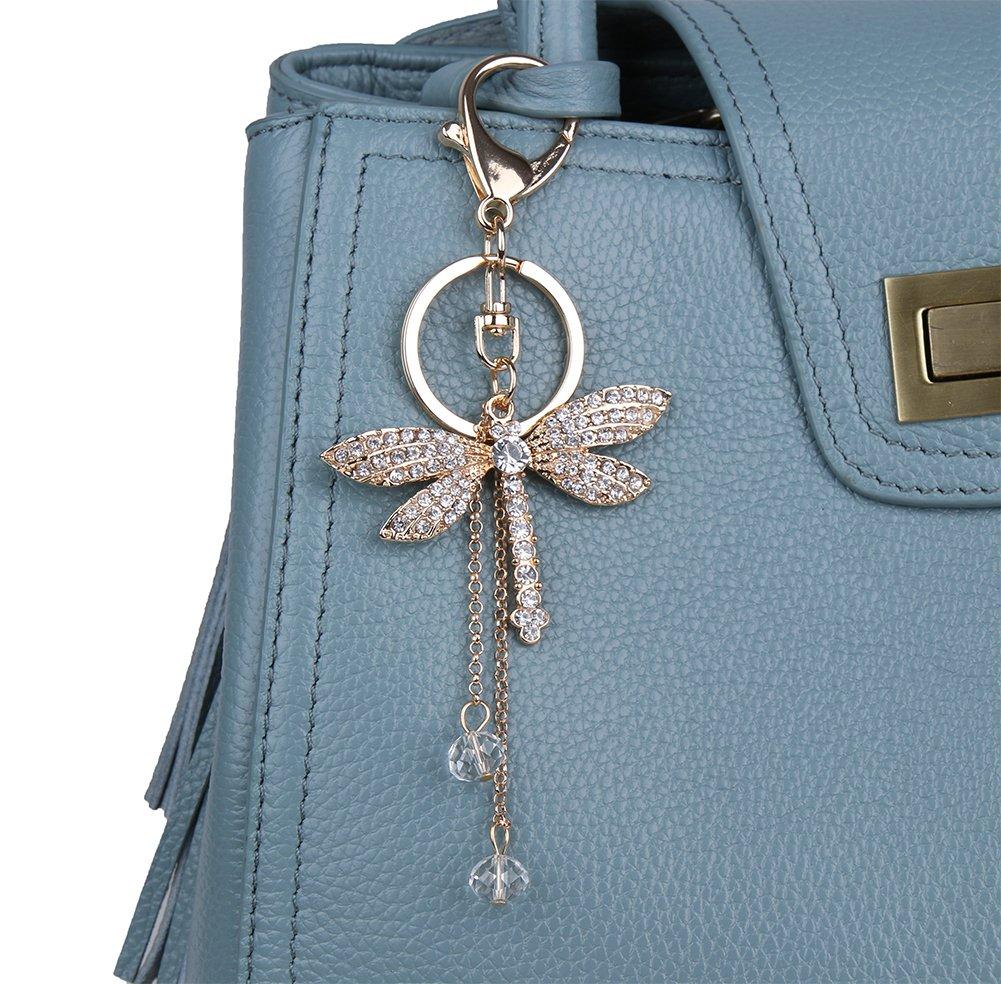 Genda 2Archer Charm Women's Gold Plated Rhinestone Dragonfly Style Keychain for Handbag Car Key Ring