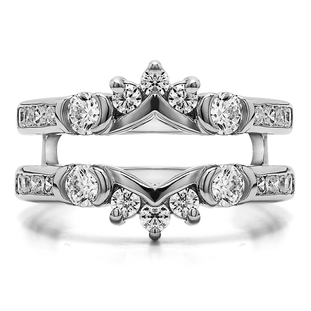TwoBirch 1 ct. Cubic Zirconia Half Halo Classic Style Ring Guard in Sterling Silver (1 ct. twt.) by TwoBirch (Image #3)