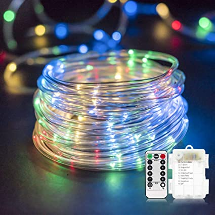 new product 68021 148da YULAMP LED Rope Light Outdoor, Led Rope Light Battery Operated String Light  40FT 120LED/RGB Strip Light,Rope Light 8 Modes Fairy Lights Dimmable/Timer  ...