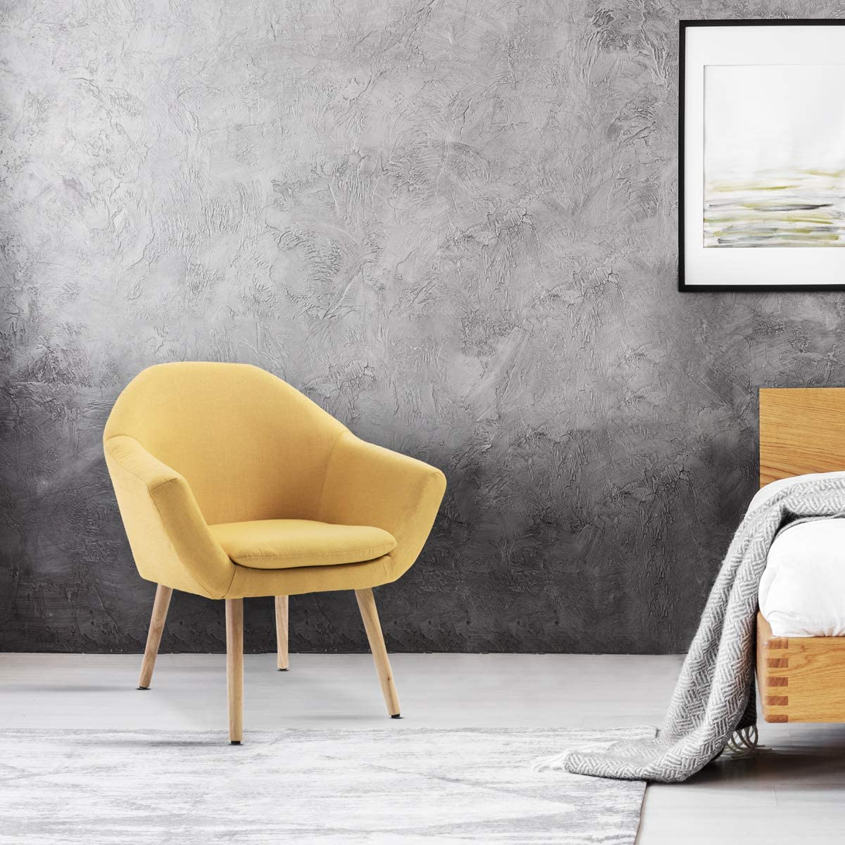 Mc Haus NAVIAN - Sillón Nórdico Escandinavo de color Mostaza, butaca comedor salón dormitorio, sillón acolchado con Reposabrazos y patas de madera 74x64x76cm