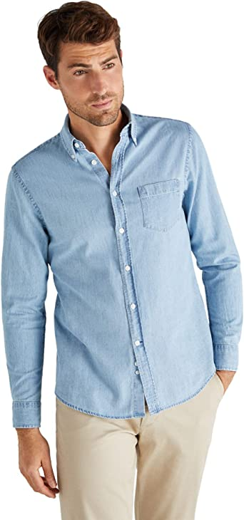 Cortefiel Denim Basico Indigo Camisa Casual para Hombre: Amazon.es: Ropa y accesorios