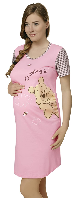 2a1226b4edb6 Italian Fashion Maternity   Breastfeeding Nightdress - 100% Cotton - Winnie  the Pooh  Amazon.co.uk  Clothing
