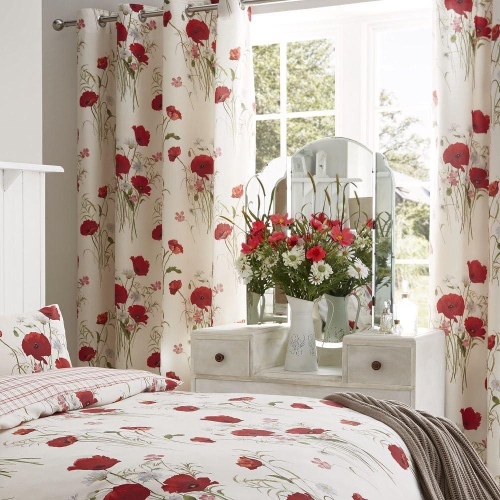 Catherine Lansfield Wild Poppies Easy Care Eyelet Curtains Multi, 66x72 Inch Eyelet Curtains- 66x72 Inch