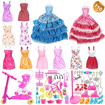 38523a5fd EuTengHao 110Pcs Doll Clothes and Accessories for Barbie Dolls Contain 10  Different Party Gown Outfits Dresses