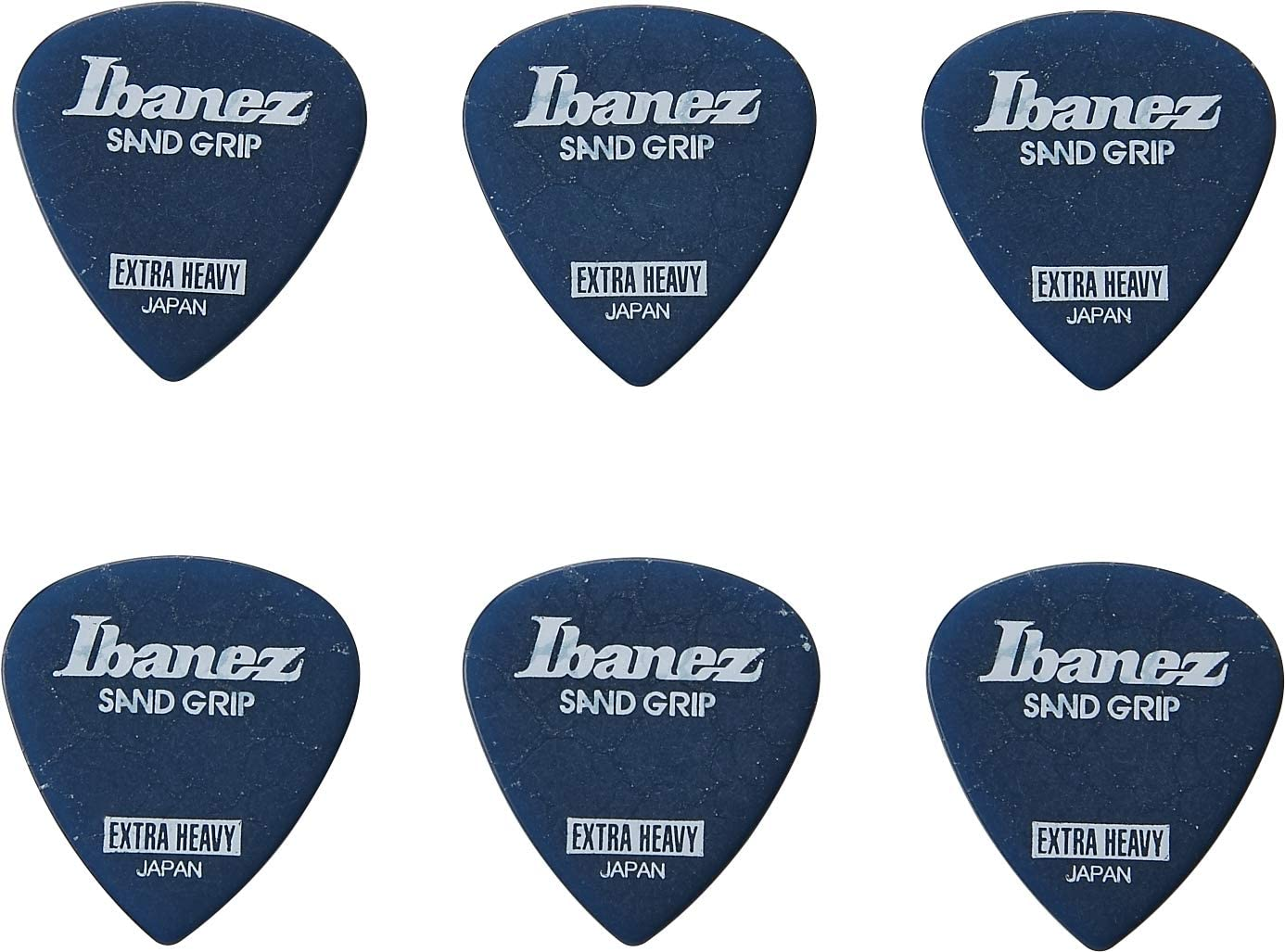 IBANEZ Flat Pick Sand Grip Crack Model Blue Pack of 6 PPA16XCG-DB