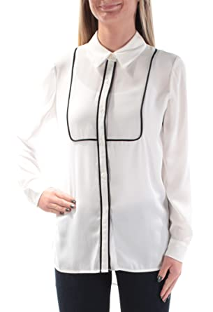 48486f6e0d8 Image Unavailable. Image not available for. Color  Vince Camuto Womens  Piped Contrast Blouse White Size ...