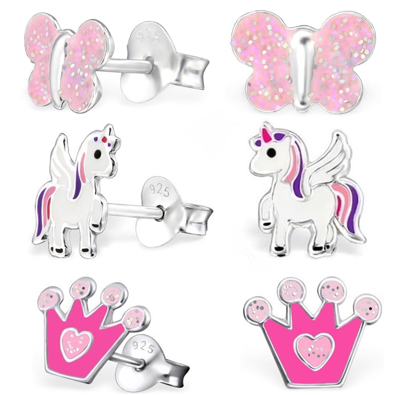 en v/éritable argent/925 de couronne et de papillon pour fille et enfant en forme de licorne ail/ée GH* Kids XM106 Lot de 3/paires de boucles d/'oreilles