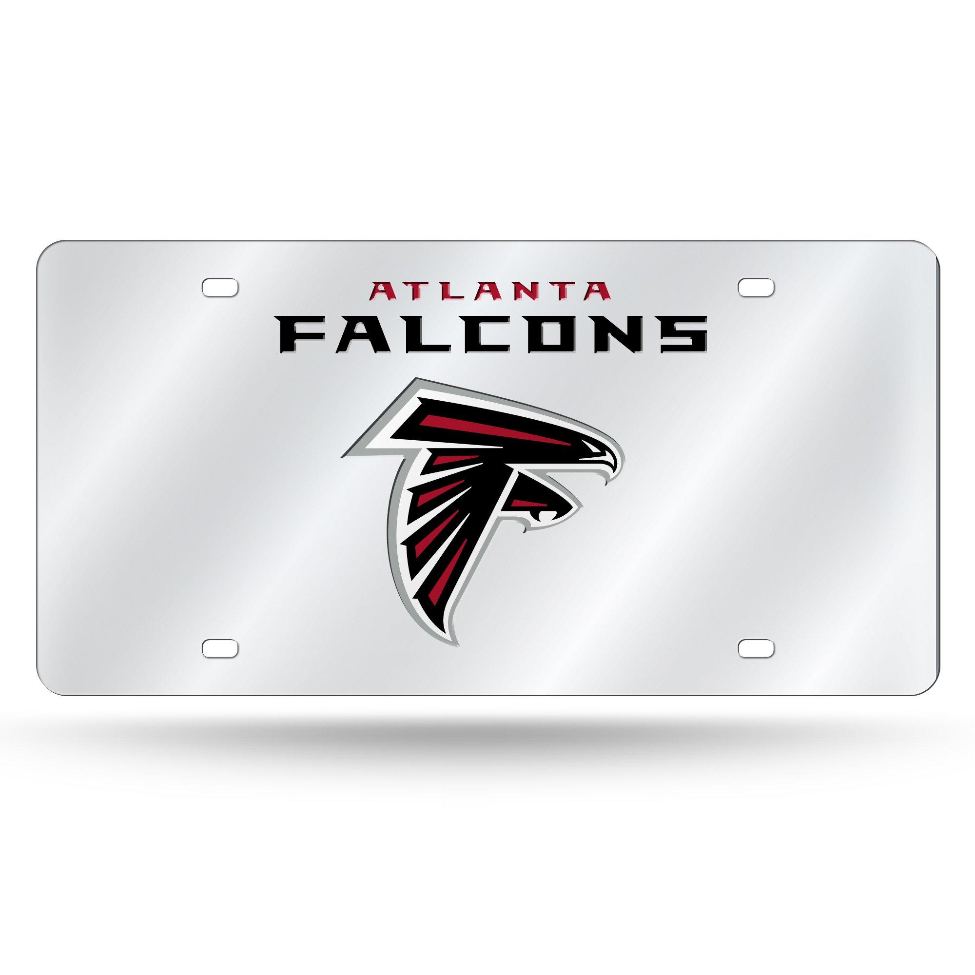 Rico Industries NFL Atlanta Falcons Laser Inlaid Metal License Plate Tag, Silver