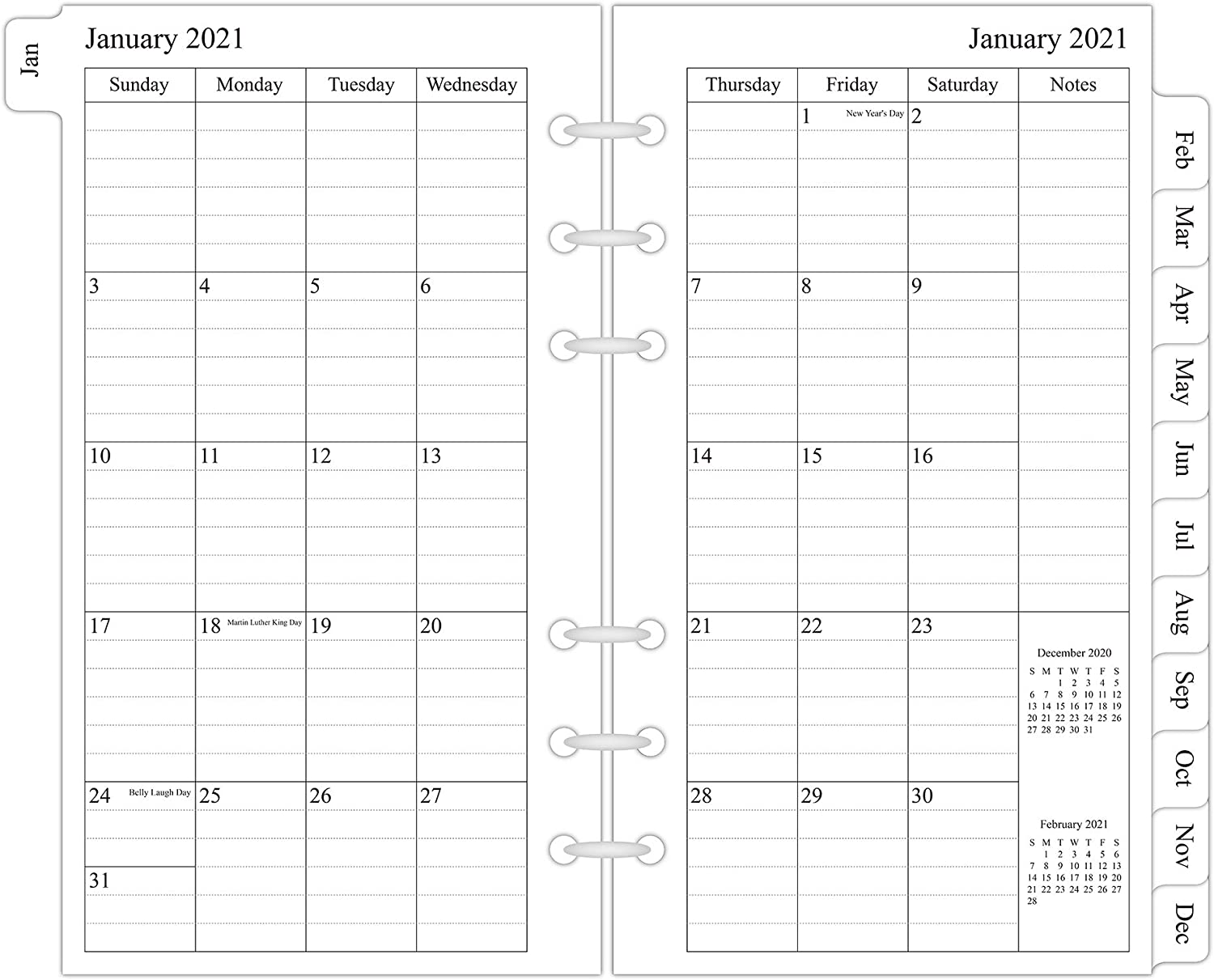 """2021 Monthly Planner Refill, 3-3/4"""" x 6-3/4"""", Two Page Per Month, January 2021 - December 2021, Personal Size/Size 3"""