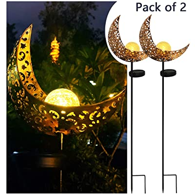 Solar Powered Garden Lights, 2 Pack Antique Brass Hollow-Carved Metal Moon with Warm White Crackle Glass Globe Stake Lights, Waterproof Outdoor for Lawn, Patio, Yard