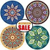 Absorbent Coasters For Drinks, 4 Pack Large 4.3'' Size Ceramic Stone Coaster With Cork Back, Mandala Style, Holder Available Separately, Save Furniture From Drink Spill and Water Rings