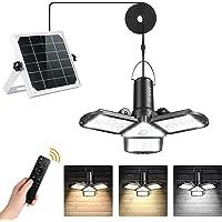 Solar Lights Indoor Outdoor, AGPTEK Solar Pendant Lights with 3 Colors Motion Sensor Solar Powered&USB Powered Shed…