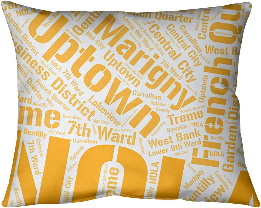 Artverse Rand Cites New Orleans Louisiana Districts Word Art Orange Pillow Spun Polyester Home Kitchen