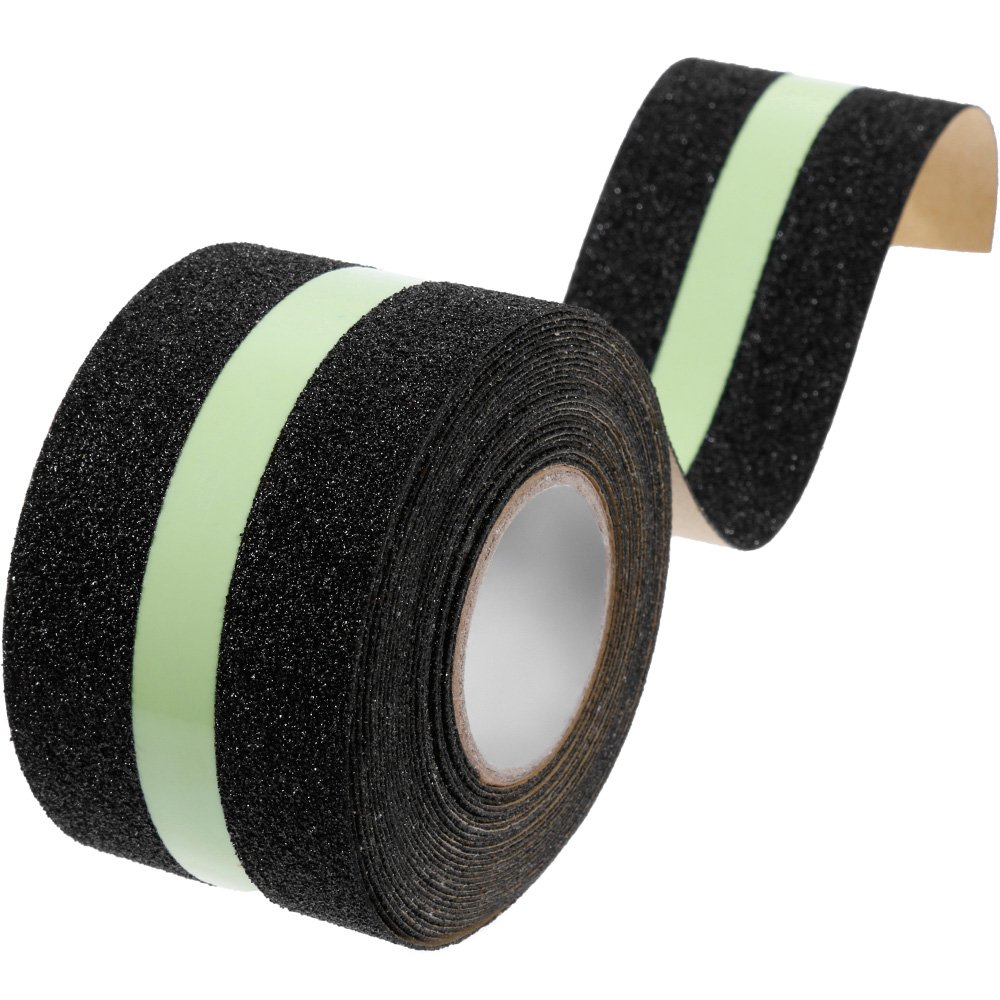 Anpro 2'' x 16.4' Safety Tape Anti Slip Tape Glow in Dark Anti Slip Strong Grip Traction Tape Abrasive for Stairs, Tread Step
