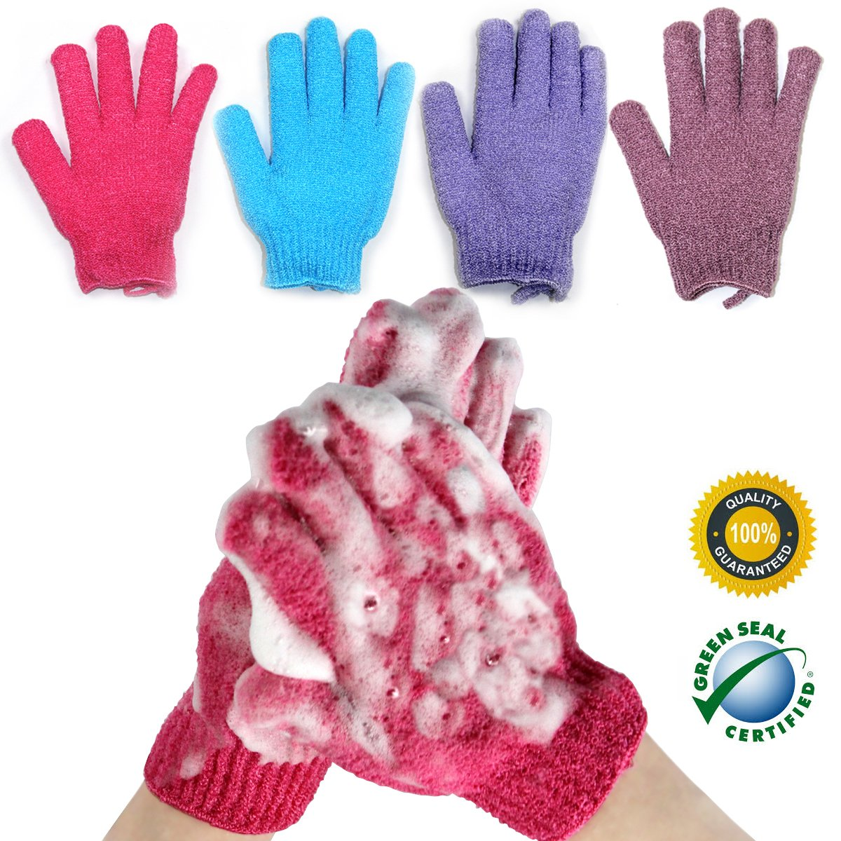 YEYIMEI Exfoliating Shower Gloves Bulk Bath Body Scrubber Spa deep cleansing healthy looking skin Heavy Exfoliating Dead Skin Cell Remover Christmas Gifts for Men Women Kids 4 Pairs (Package-001)