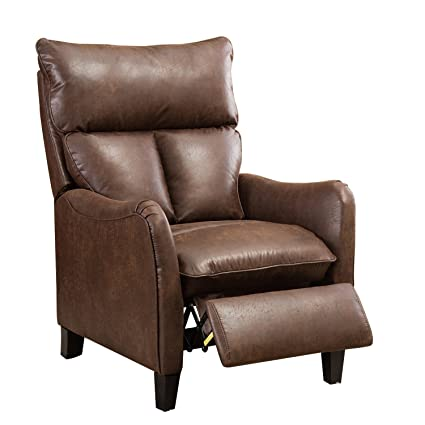 BONZY Recliner Chair Microfiber English Roll Arm Pushback Recliner   Brown
