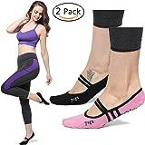Women's Ballet Grip Socks (2 Packs) for Barre Pilates Yoga Dance Low Cut Socks Non Slip Skid Cotton Ankle Sport Toe Shoes One Size 5-10