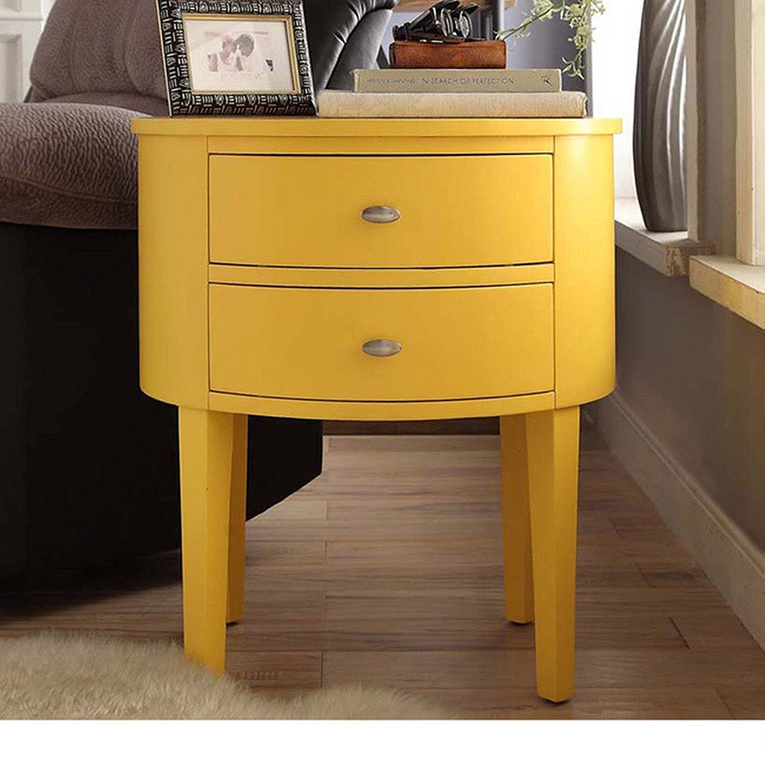 ModHaus Living Modern Style Wood Accent Nightstand End Sofa Table Console Oval Shaped with 2. by ModHaus Living