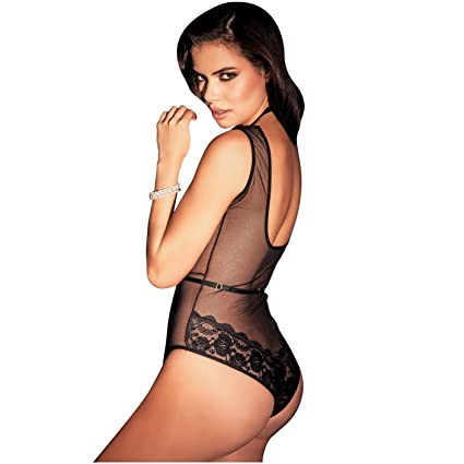 Amawi Azucena Sexy Black Lace Teddy Boddysuit For Women | Ropa Interior Femenina at Amazon Womens Clothing store:
