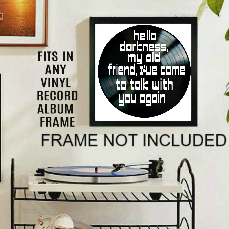 Sounds of Silence song lyric art//inspired by Simon and Garfunkel//Vinyl Record Album Wall Decor