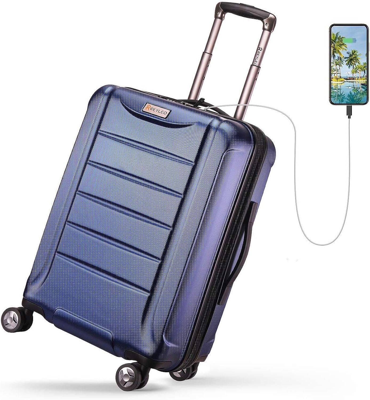 REYLEO Expandable Luggage 21 Inch PC Carry on Luggage Travel Suitcase
