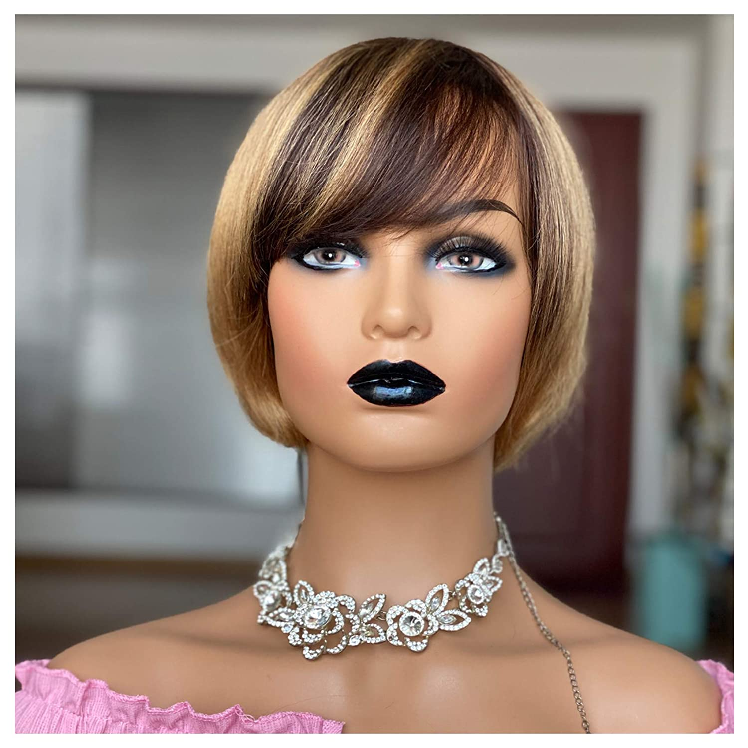 Amazon Com Short Bob Wigs For Black Women Straight Human Hair Wigs With Bangs Ombre Light Brown With Blonde Pixie Cut Wig Mirthful Beauty