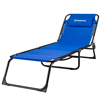 kingcamp patio lounge chair chaise bed 3 adjustable reclining positions steel frame 600d oxford folding camping - Patio Lounge Chairs