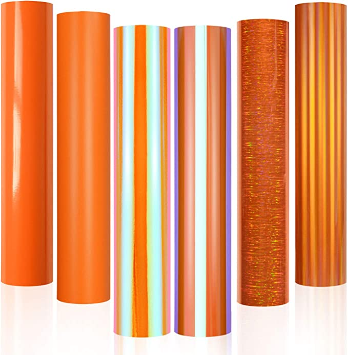 Holographic Chrome Vinyl 1ft x 5ft Coral Orange